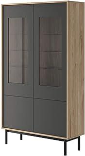 MHF Vitrine de base à 9 portes en verre de 104 cm de large avec lumières LED pour salon