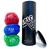 Epic Hacky Sack Balls, 3 Footbag Gift Set with Storage Tube