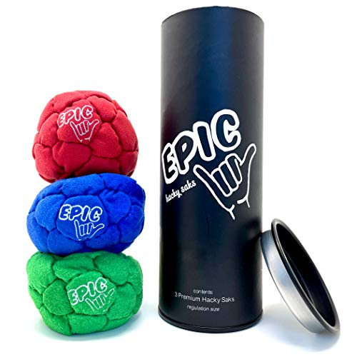 Epic Hacky Sack Balls, 3 Footbag Gift Set with Storage Tube, Red, Green & Blue