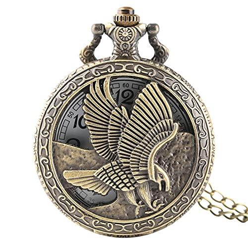 KX-YF Reloj De Bolsillo Vintage Bronce águila Alas Patrón Bolsillo Reloj Collar Digital Reloj De Bolsillo De Cuarzo Adecuado para Regalos Y Recuerdos.