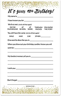 90th Birthday Party Game Wishes Cards - Black and Gold - Set of 30