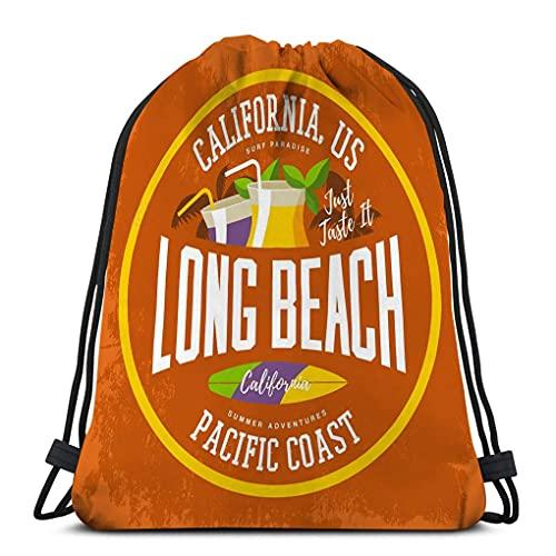 XCNGG Mochila deportiva con cordón Mochila de viaje para todos imprimir cócteles de tablas de surf palmas bebidas paja long beach california letrero surfista de verano publicidad deportiva