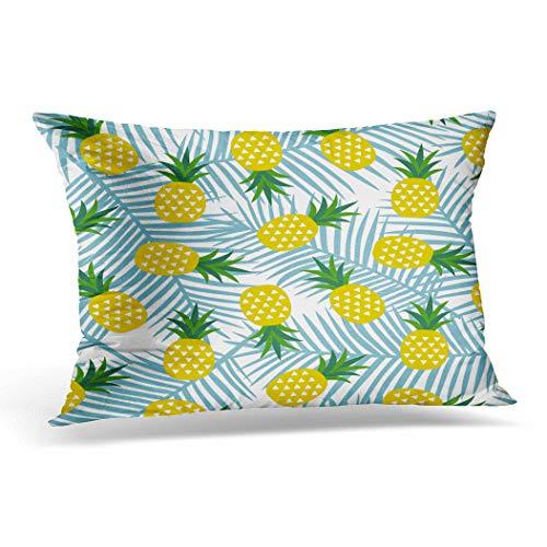 Awowee Funda de cojín de 30 x 50 cm, diseño de piña amarilla con triángulos geométricos, frutas veraniegas, tropicales, exóticas, hawaianas, dulces, decoración del hogar, funda de cojín para sofá y cama