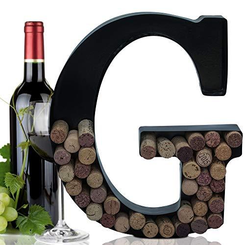 Metal Letter Wine Cork Holder Monogram w/Free Wall Mount Kit A-Z, (G)
