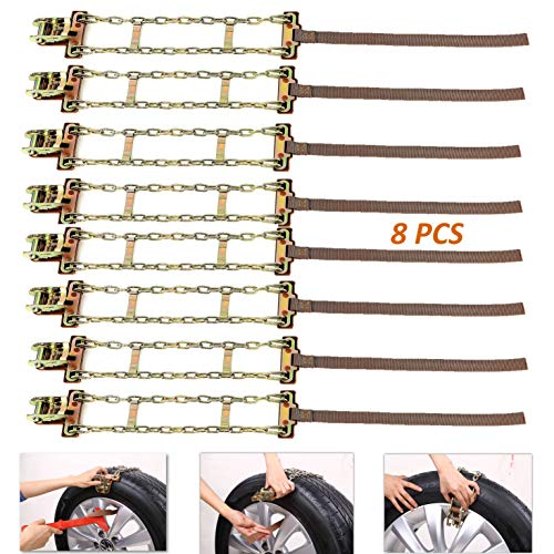"""FUN-DRIVING Snow Chains,Tire Chains,Adjustable,Rustproof,Cold-Resistant,Durable,for Car,SUV,Van of Tire Width 205-275mm/8-10.8"""" (8 Pack) (8-10.8inch (8 Pack))"""