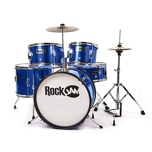 RockJam completa 5-Piece Junior Drum Set con Piatti, Bacchette, Trono regolabile e Accessori - blu
