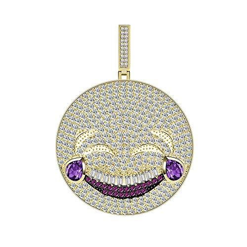 Moca Schmuck Iced Out Emoji Lachen Und Weinen Smiley Halskette 18 Karat Vergoldet Bling CZ Simulierte Diamant Hip Hop Rapper Kette Halskette Für Männer Frauen (A)