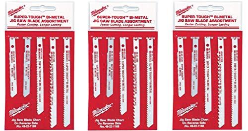 Milwaukee 49-22-1168 Universal Shank Metal/Wood Cutting Jig Saw Blade Assortment, 5-Count, 3 Pack