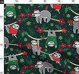 Faultier, Weihnachten, Blumen, Rot Und Grün, Rot, Grün