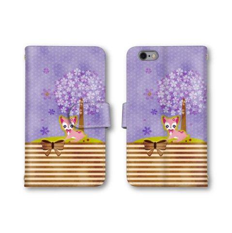 【ノーブランド品】 isai Beat LGV34 スマホケース 手帳型 ネコ 桜の木 ボーダー パープル 紫 かわいい おしゃれ 携帯カバー LGV34 ケース 携帯ケース イサイ ビート