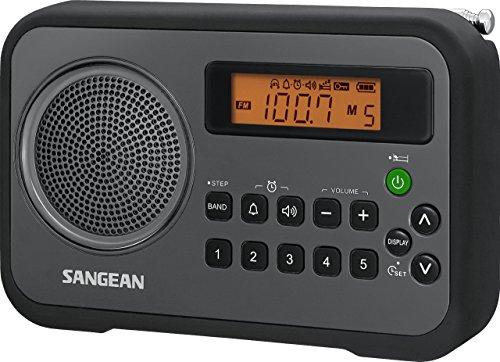 Sangean PR-D18BK AM/FM/Clock Portable Digital Radio with Protective Bumper (Black/Gray) (Renewed)