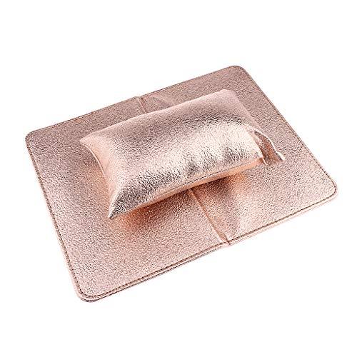 B Baosity Waschbar Handauflage Armauflage Handablage Handkissen mit Handmatte für Gelnägel Nagellack Nageldesign - Champagner