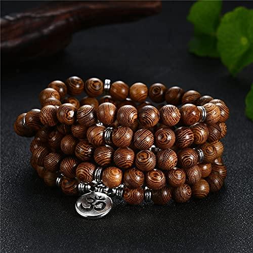 sdfpj Rezo 108 Perlas de Madera Budismo OM Lotus Buddha Collar for Mujeres Hombres Rosario Collar Pulsera Flor de la Vida Regalos de joyería (Metal Color : OM)