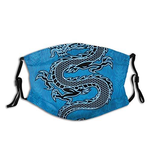 MundschutzWiederverwendbarerMundschutzimFreien,Black Dragon On Blue Tribal Background Year of The Dragon Themed Art,NahtloseRänderAußenabdeckungen