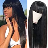 West Kiss Straight Wig With Bangs Human Hair Silky Brazilian Hair None Lace Front Wigs Glueless Machine Made Wigs For Black Woman (20 inch wigs with free part bangs)