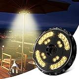 Lampada per Ombrellone, Luce per ombrellone ricaricabile wireless con 28 LED 400 lumen 2 modalità, Batterie integrate da 4400 mAh, Lampada ombrellone per patio (giallo)