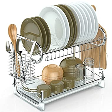 2 Tier Dish Rack, Packism Dish Drying Rack with Drain Board Tray Cutlery Holder Large Capacity Kitchen Cup Dish Drainer with Cutting Board Utensil Holder, Silver