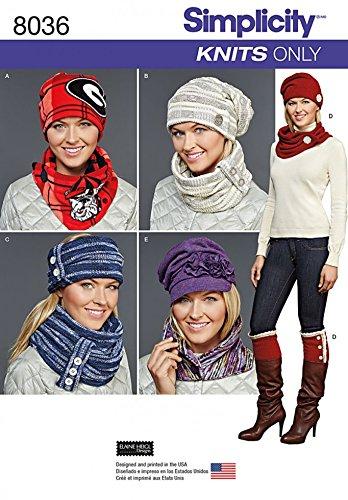 Simplicity 8036 Schnittmuster für Damen, Jersey, Mützen, Schals, Kappen und Stiefelüberzüge
