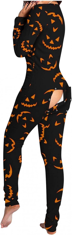 Pajamas for Women Sleepwear Halloween Pumpkin Print Long Sleeve Functional Buttoned Flap Button Down V Neck Jumpsuit