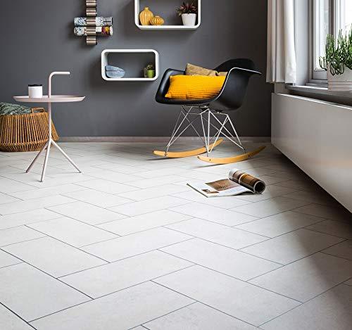 PVC Bodenbelag mit verschachtelten Fliesen, weiß (9,95€/m²), Zuschnitt (4m breit, 2m lang)