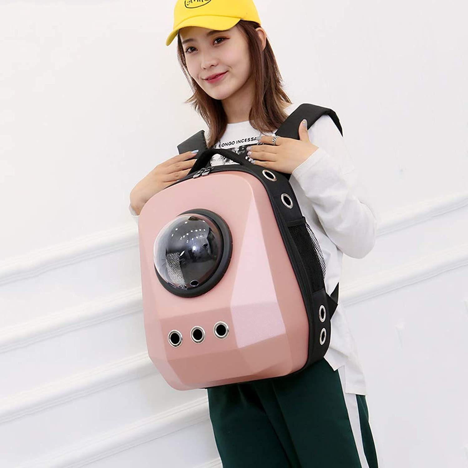 BTPDIAN Cat bag  space pet cabin  out of the portable backpack  loaded cat bag  shoulder space bag  cat dog chest bag (color   PINK, Size   35x28x45cm)