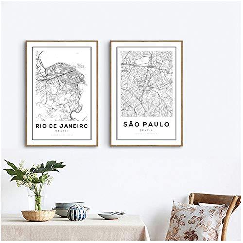 Brazilië Sao Paulo Kaart Art Print Poster Wall Decor Brazilië Rio De Janeiro Stadskaart Canvas Schilderij Wall Art Pictures Home Decor-50x70x2Pcscm Geen Frame