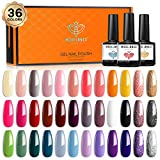 Gel Nail Polish 36 Pcs Colors 7ML Fall Holiday Gel Polish Soak Off Gel Nail Kit Glitter Nail Art Starter Kit Beauty Gifts Set Box by Modelones