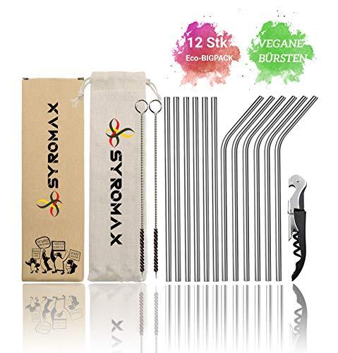 Syromax Metall Strohhalm Edelstahl Trinkhalm 12er Set + 2 Vegane Reinigungsbürsten + Eco-Beutel + Flaschenöffner | Milchshake & Bubble Tea | umweltfreundlich & plastikfrei.(6 gerade / 6 gebogen)