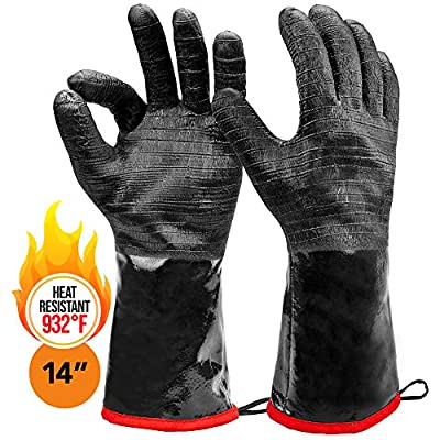 """Heat Resistant BBQ Gloves, 14"""" Long Sleeve, Extra Large Textured Grip to Handle Wet, Greasy or Oily Foods Fire and Food Safe Turkey Fryer Oven Mitts for Smoker, Grills and Barbecue"""