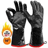 "Heat Resistant BBQ Gloves, 14"" Long Sleeve, Extra Large Textured Grip to Handle Wet, Greasy or..."