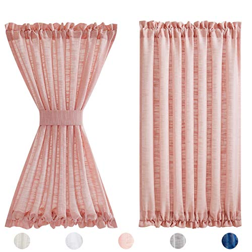 """Fmfunctex French Door Panels Sheer Pink 72"""" Long Linen Textured Front Glass Door Curtain Solid Privacy Sliding Door Curtains for Foyer Tiebacks Attached 50"""" w 1 Pack"""