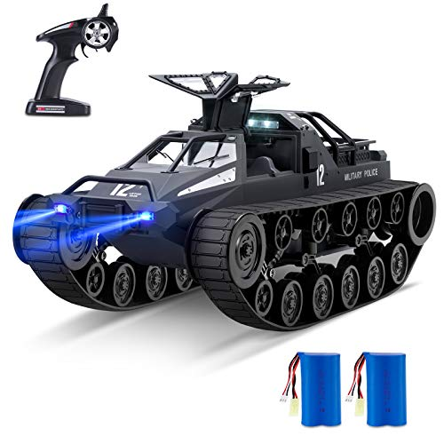 Bwine Q111 Spray Remote Control Truck, 1:12 Scale Off-Road Crawler, 360° Rotating Drift Tank, 2.4Ghz RC Car for Kids & Adults, Two Batteries for 45+ Min Play