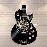 Fryymq (12 Pulgadas con LED) Guitarra folklórica para Colgar en la Pared, Arte, Reloj de Pared, Instrumento Musical, decoración de la Pared Interior del hogar, Disco de Vinilo, Reloj de p