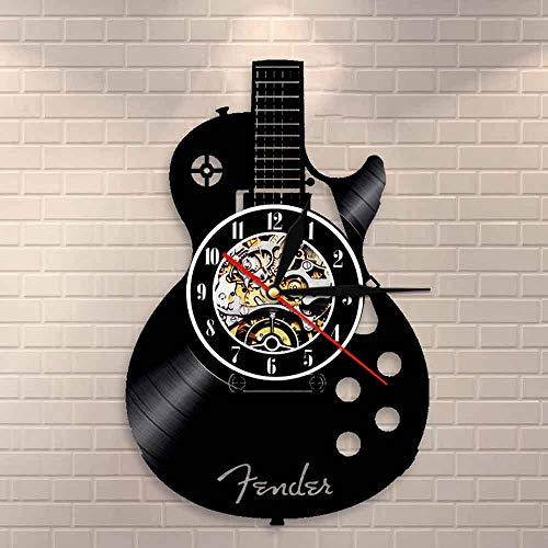 BFMBCHDJ Akustikgitarre Wandkunst Wanduhr Musikinstrument Home Interior Wanddekoration Schallplatte Wanduhr Rock n Roll Musikalisches Geschenk Keine LED 12 Zoll