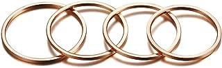 VNOX 4 pezzi in acciaio inox placcato oro rosa sottile mignon knuckle set di anelli per le donne di fidanzamento regalo di...