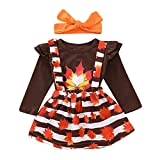Yokidi Vestido de niña pequeña 1-5T con Volantes y Falda con Tirantes Florales y Diadema para otoño e Invierno - Marrón - 3-4 años