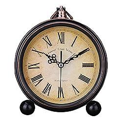 Classic Retro Antique Design European Style Decorative Alarm Clock Quartz Movement Battery Operated Analog Large Numerals Bedside Table Desk Alarm Clock, HD Glass Cover, Easy to Read(Roman,Retro)