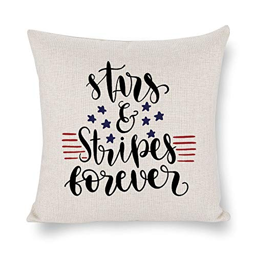 Funda de cojín con diseño de estrellas y rayas para siempre, 4 de julio, lino rústico decorativo, funda de almohada lumbar decorativa para silla, habitación, sofá, coche, decoración del hogar, regalo de inauguración de la casa, 45 x 45 cm lyg2jwx6kw90