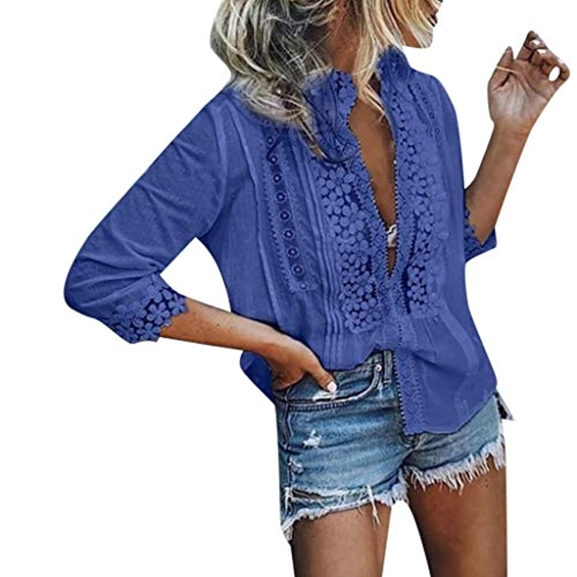 HIKO23 Women Fashion Solid Lace Tops Sexy V-Neck Blouse Half-Sleeve Shirts