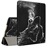 iPad Air 3 2019 Case, iPad Pro 10.5 Inch Case 2017, Amook Tri-fold Smart Cover Stand TPU Case with Pencil Holder Auto Sleep/Wake for Apple iPad Pro/Air 3rd Gen 10.5-Tears of The Wolf