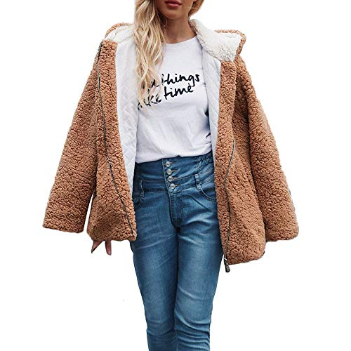 Damen Strickfleecejacke Fleecejacke mit Kapuzen Fleece Kapuzepullover Sweatjacke Plüschjacke Zip Hoodie Cardigan Wollmantel Sweatshirt
