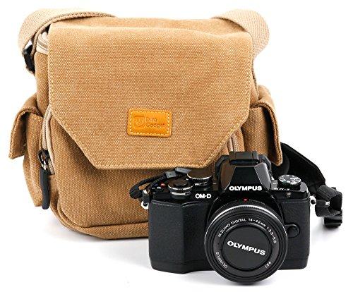 Con bandolera, color beige y marrón arena adecuado para cámara de fotos Olympus OM-D E-M10 M5, Mark II y E-PL7 DURAGADGET-PEN