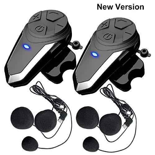 Motorrad Bluetooth Headset Intercom, 2 x QSPORTPEAKB T-S3 Freisprechanlage Helm Gegensprechanlage Bluetooth Motorrad Kommunikation mit Radio