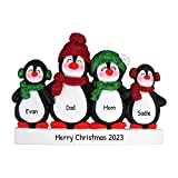Personalized Penguin Family of 4 Christmas Tree Ornament 2020 - Happy Parents Children Friends Glitter Playful Hat Snow Cute Earmuffs Traditional Winter - Free Customization (Four)