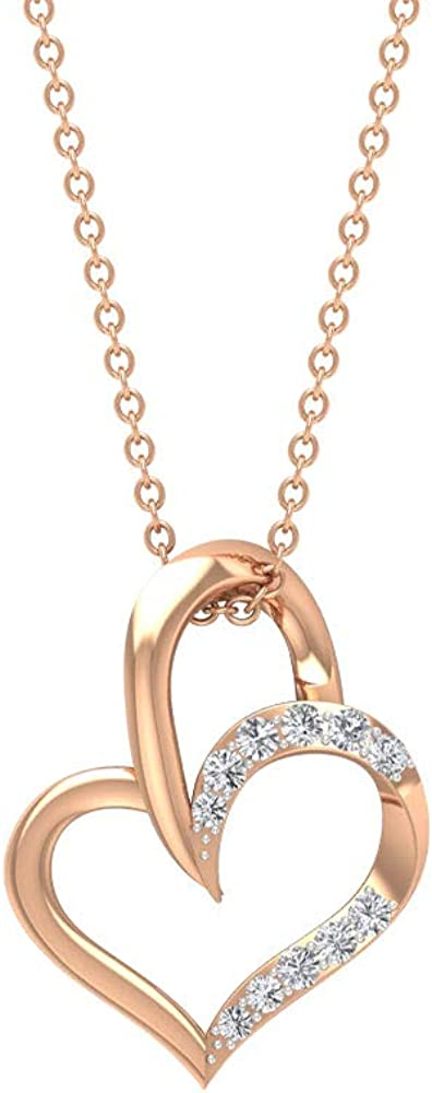 0.53CT Pave Certified Diamond Cluster Heart Shape Pendant, Antique Solid 14k Gold Engraved Love Charm Pendant, Vintage Stacking Chain Pendant Necklace