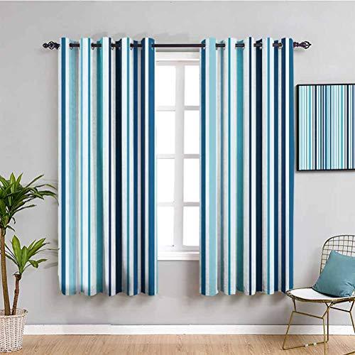 Cortina abstracta al aire libre rayas verticales tonos pastel bandas de color fondo diseño náutico tela impermeable cielo y azul oscuro W52 x L84 pulgadas