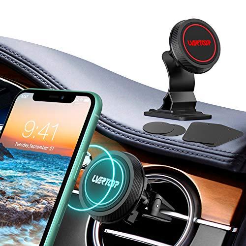 UVERTOOP Handyhalterung Auto Magnet, (2 Stücke) Stärker Handyhalter fürs Auto Lüftung 2 in 1 Armaturenbrett Kfz Handy Halterung mit 4 Metallplatten für iPhone 12 11 Pro Xs Max 8 7 Plus Galaxy und mehr