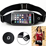 Black Sports Running Workout Waist Bag Belt Case Gym Pouch Reflective Cover Transparent Touch Screen for Virgin Mobile ZTE Supreme