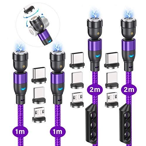 マグネット ケーブル A.S 第三代 3in1 USB C マグネット 充電ケーブル QC3.0 磁石 急速充電 月形のLEDランプ付き USB2.0高速データ転送 360度+180度回転 1M 2M L字磁気 ケーブル ip/Type-C/Micro/マイクロ USB コネクタ対応 防塵 着脱式
