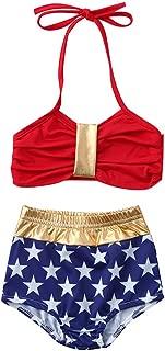 RONSHIN 2 Pcs/Set Children Girl Fashion Chic American Flag Bikini Swimsuit Set
